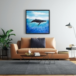 Framed 24 x 24 - Blue whale