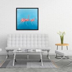 Framed 24 x 24 - Four flamingos
