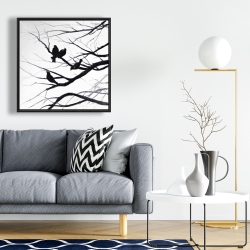Framed 24 x 24 - Birds and branches silhouette