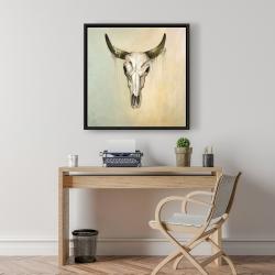 Framed 24 x 24 - Color fading bull skull