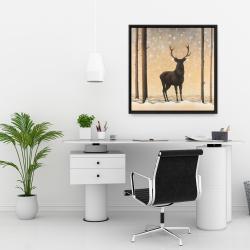 Framed 24 x 24 - Roe deer in winter