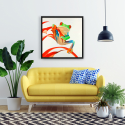 Framed 24 x 24 - Red-eyed frog