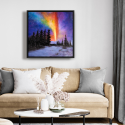 Framed 24 x 24 - Aurora borealis in the forest