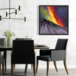 Framed 24 x 24 - Aurora borealis in the mountain
