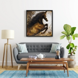 Framed 24 x 24 - Horse rushing into the dust