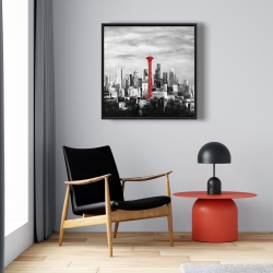 Framed 24 x 24 - Space needle in red