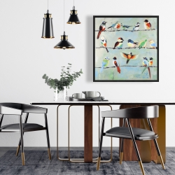 Framed 24 x 24 - Small abstract colorful birds