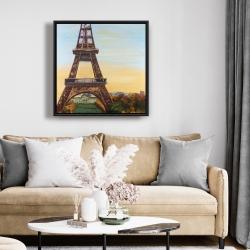 Framed 24 x 24 - Eiffel tower by dawn