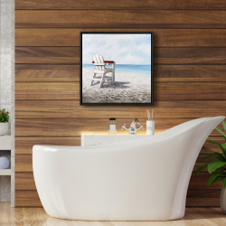 Framed 24 x 24 - White beach chair