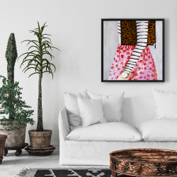 Framed 24 x 24 - Fashionable woman with a leopard bag