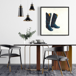 Framed 24 x 24 - Leather cowboy boots