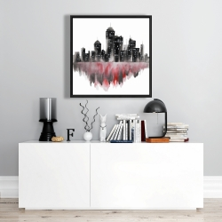 Framed 24 x 24 - Red watercolor cityscape