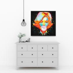 Framed 24 x 24 - Colorful maryline monroe bubblegum