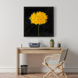 Framed 24 x 24 - Yellow chrysanthemum