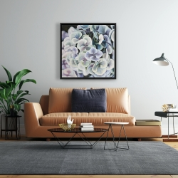 Framed 24 x 24 - Purple hydrangea flowers
