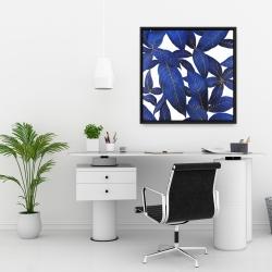 Framed 24 x 24 - Abstract modern blue leaves