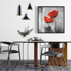 Framed 24 x 24 - Two red flowers on a grayscale background