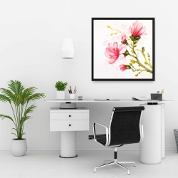 Framed 24 x 24 - Watercolor magnolia flowers