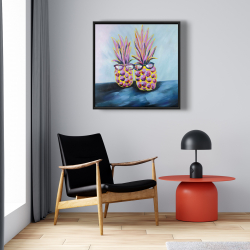 Framed 24 x 24 - Funny pineapples with sunglasses