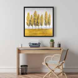 Framed 24 x 24 - Abstract yellow trees
