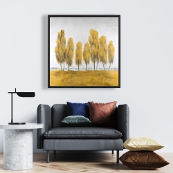 Framed 24 x 24 - Seven abstract yellow trees