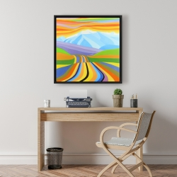 Framed 24 x 24 - Mountain road multicolored