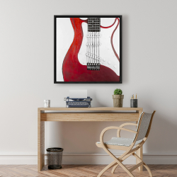 Framed 24 x 24 - Red electric guitar