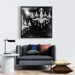 Framed 24 x 24 - White chandeliers