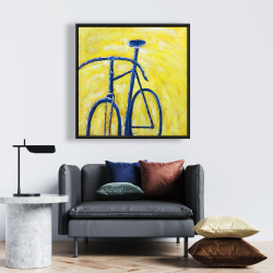 Framed 24 x 24 - Blue bike on yellow background