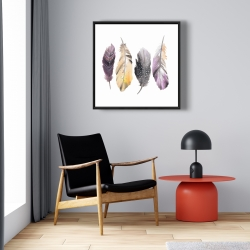 Framed 24 x 24 - Colorful feather set