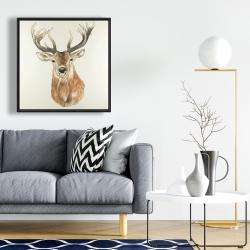 Framed 24 x 24 - Front deer portrait