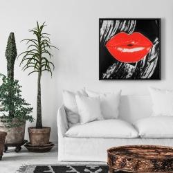 Framed 24 x 24 - Pouty glossy lips