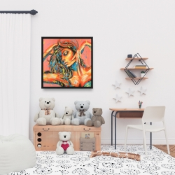 Framed 24 x 24 - Sensual tanned lady with paint splash