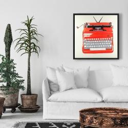 Framed 24 x 24 - Red typewritter machine