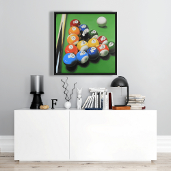 Framed 24 x 24 - Pool table with ball formation