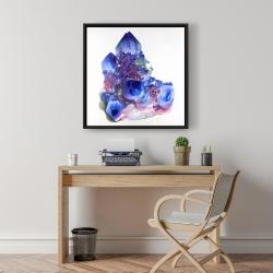 Framed 24 x 24 - Blue and purple quartz cristal