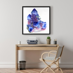 Framed 24 x 24 - Blue and purple quartz cristal