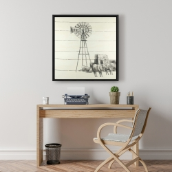 Framed 24 x 24 - Vintage old texas windmill