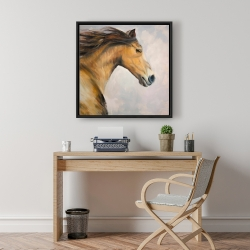 Framed 24 x 24 - Proud steed with his mane in the wind