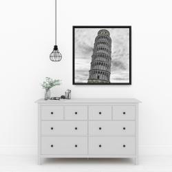 Framed 24 x 24 - Outline of tower of pisa in italy