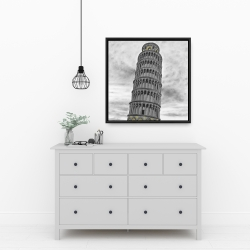 Framed 24 x 24 - Tower of pisa in italy