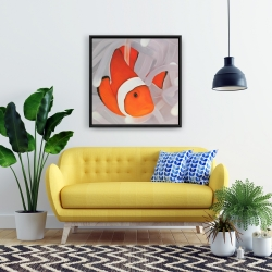 Framed 24 x 24 - Clownfish under the sea