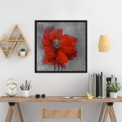 Framed 24 x 24 - Red flower in the wind