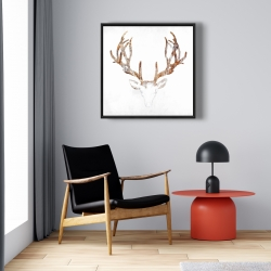 Framed 24 x 24 - Wood looking deer head