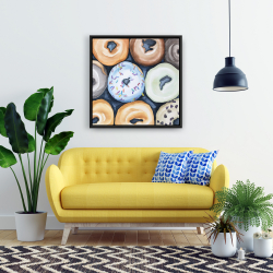 Framed 24 x 24 - Watercolor doughtnuts with icing