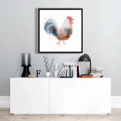 Framed 24 x 24 - Watercolor rooster