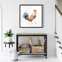 Framed 24 x 24 - Rooster watercolor style