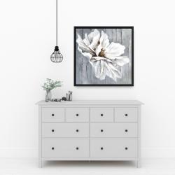 Framed 24 x 24 - Flower on wood
