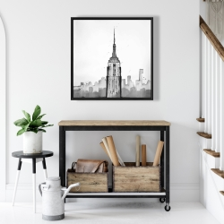 Framed 24 x 24 - Empire state building