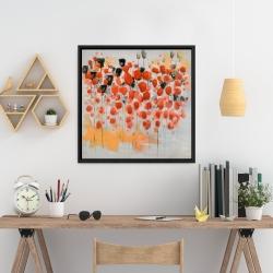 Encadré 24 x 24 - Champ de fleurs ronde rouges abstraites